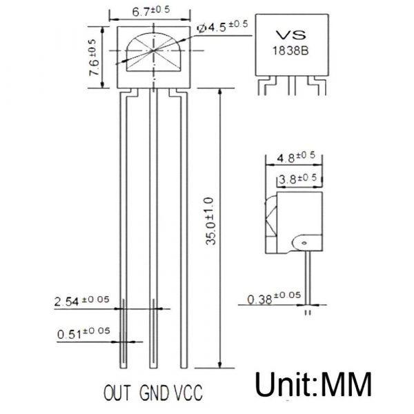 4 Pezzi 38Khz Universal IR Infrarossi Ricevitore TL1838 VS1838B arduino compatibile