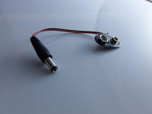 9V Batteria Clips Snap T-Type Cavo, 2.1 x 5.5mm Maschio DC Power Plug to 9V Batteria Clip Adattatore Cavo