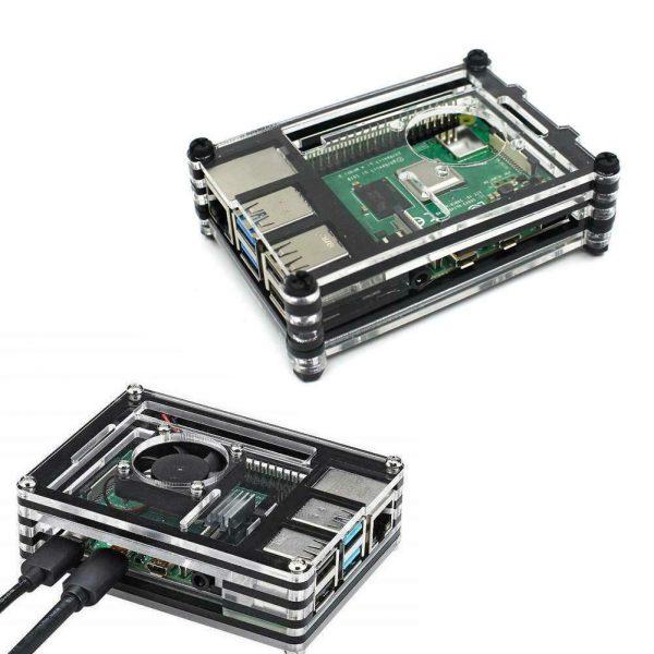 Case per Raspberry Pi 4 Multistrato con Ventola raffreddamento 5V