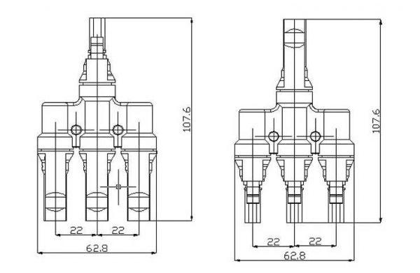 Adattatori MC4-T Connettori di derivazione da 3 a 1 T 30A