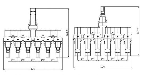 Adattatori MC4-T Connettori di derivazione da 6 a 1 T 50A